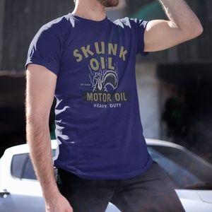 Cool Vintage Skunk Motor Oil Graphic T-Shirt *NEW*